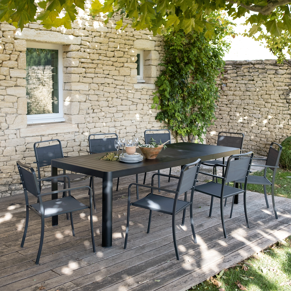 GUILIA - Table de jardin extensible en aluminium noir (8 à 10 places)