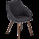 Chaise en tissu noir calabrun pieds effet noyer avec accoudoirs-NOELIE