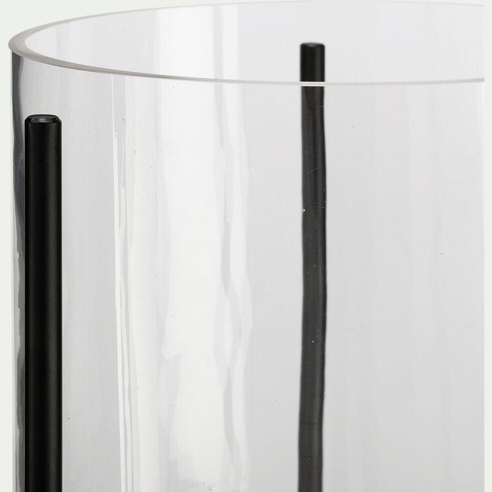 Vase en verre sur trépied - transparent et noir H100-MARMARIS