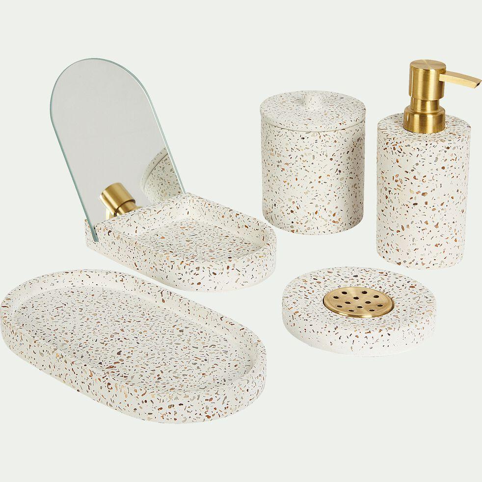 Pot à coton en terrazzo - blanc H11,3cm-TERRAIO