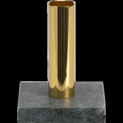 Bougeoir en marbre vert et doré D8xH11cm-CROCUS
