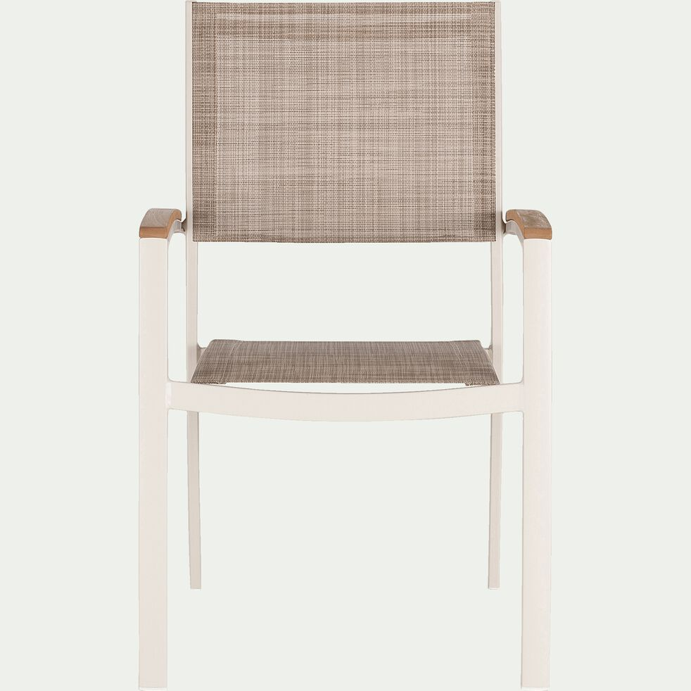 Chaise de jardin avec accoudoirs empilable en eucalyptus-DOLE