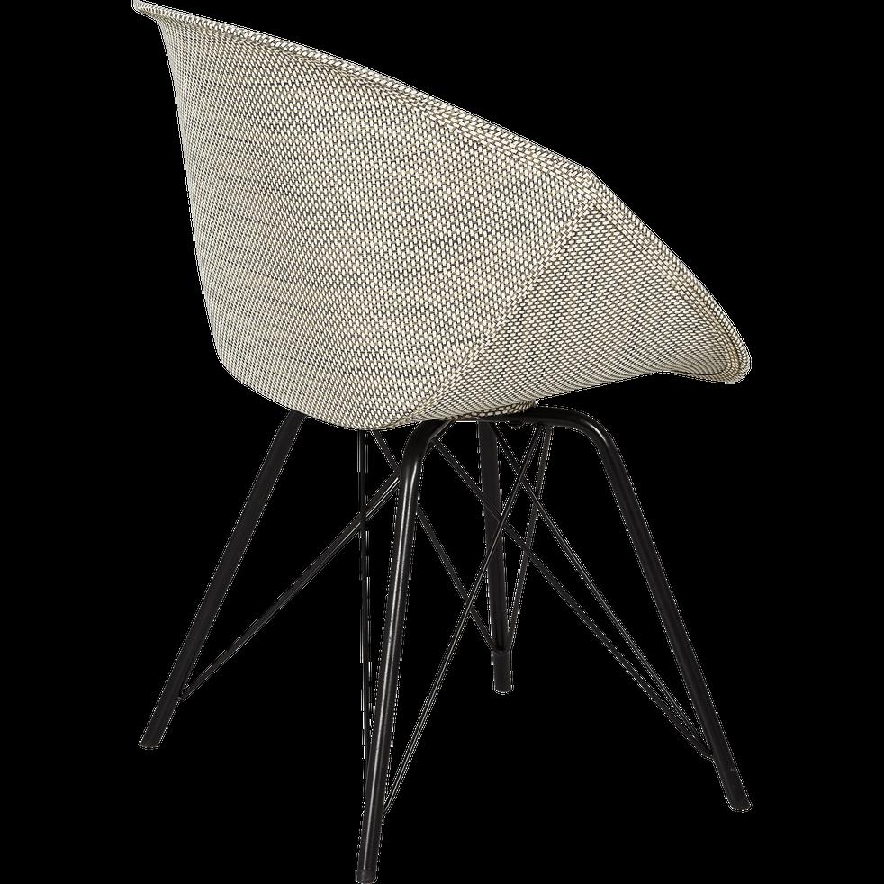 Chaise en tissu grise avec accoudoirs-ALBERTINE