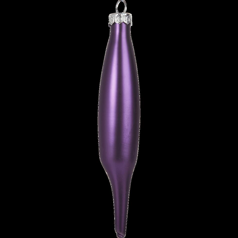Lot de 6 stalactites en verre violet H15xD3cm-NINE