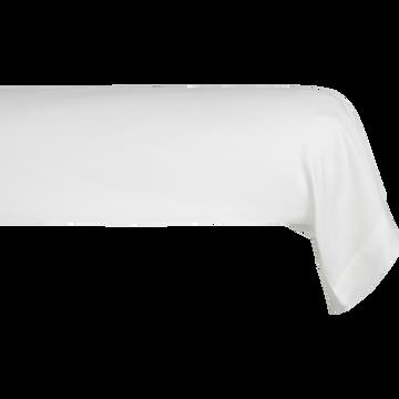 Taie de traversin en satin Blanc capelan rayé - L185 cm-SANTIS