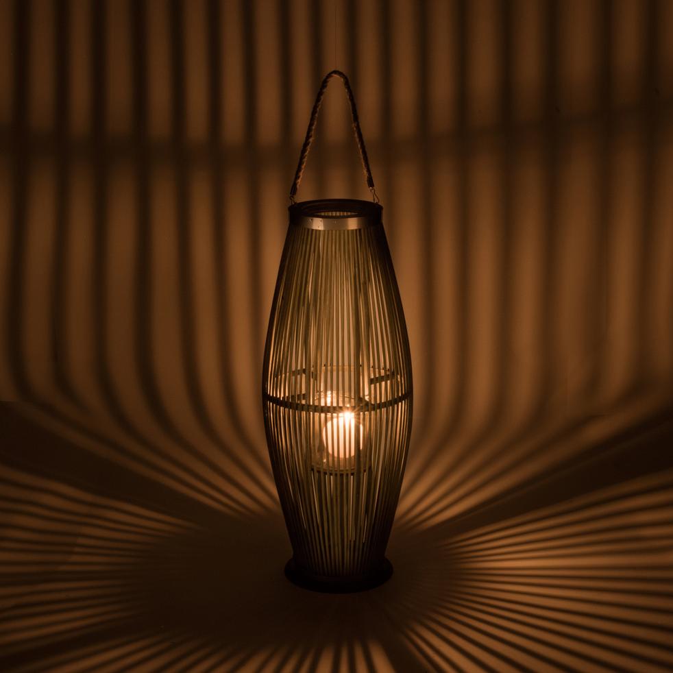 Lanterne en bambou vert H72 cm-Ravenne