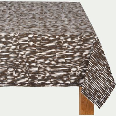 Nappe en coton marron 170x250cm-OUMBRUN