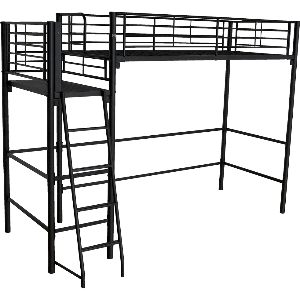 lit mezzanine 1 place noir avec plateforme 90x200 cm. Black Bedroom Furniture Sets. Home Design Ideas