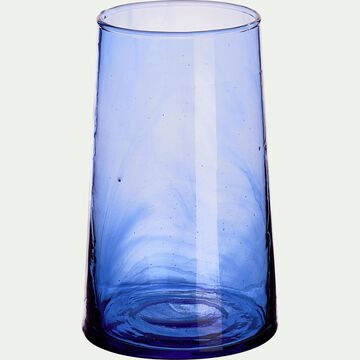 Verre bleu en verre recyclé soufflé à la bouche 35cl-BELDI