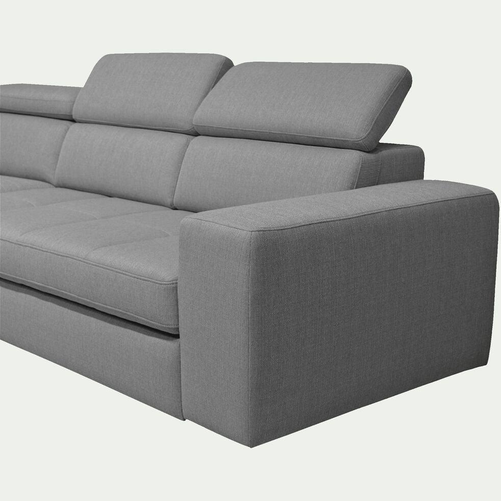 Canapé d'angle gauche panoramique convertible en tissu - gris clair-TONIN