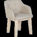 Chaise capitonnée beige avec accoudoirs-CORK