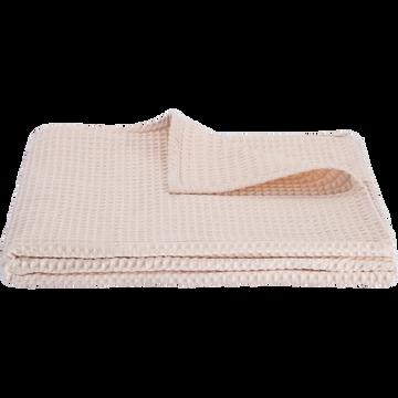 Jeté de lit en coton gaufré rose grège 180x230cm-GOYA