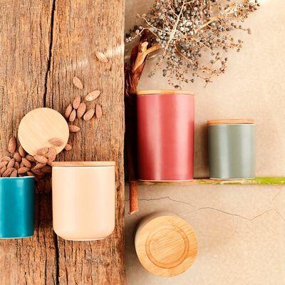 Pot en porcelaine coloris argile avec couvercle en bambou D10,5xH13,5 cm-JAN