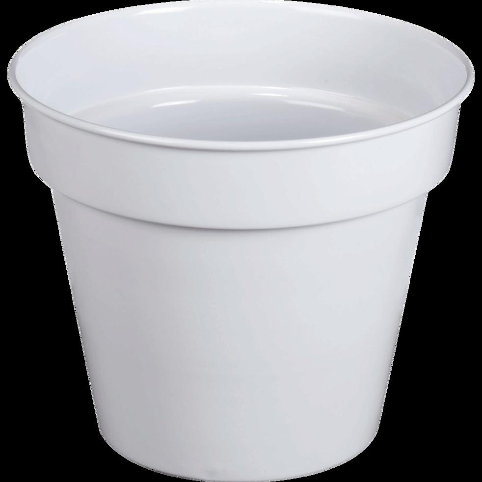 Cache-pot blanc en fer H23xD27cm-FLORA