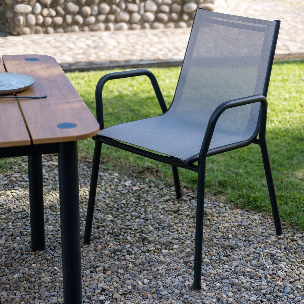 Chaise de jardin avec accoudoirs en aluminium et textilène gris vésuve-MASCA