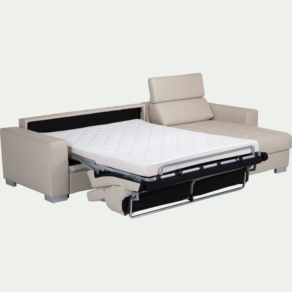 Canapé d'angle réversible en cuir de buffle - beige-Mauro