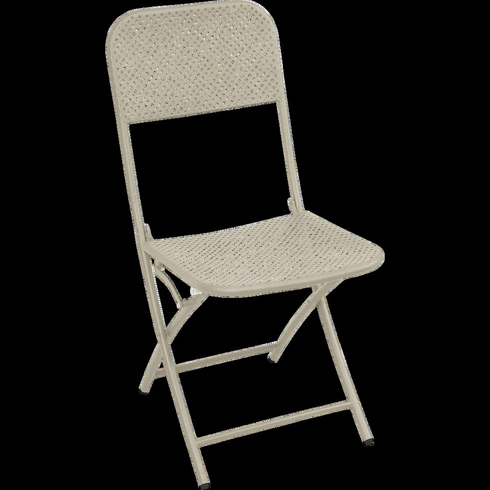 chaise de jardin pliante grise en acier holy soldes. Black Bedroom Furniture Sets. Home Design Ideas
