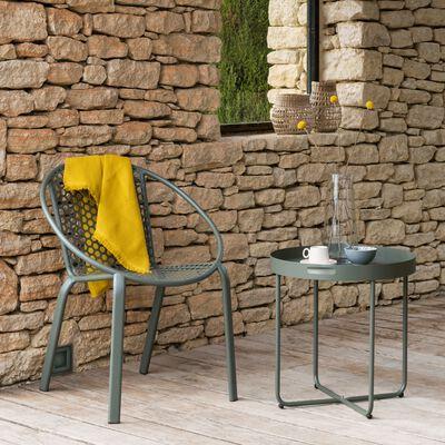 Fauteuil de jardin empilable en acier avec accoudoirs vert cèdre-CLEMENCE