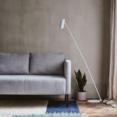 Canapé 2 places fixe en tissu gris borie-OLIVIA