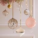 Boule de Noël en verre rose d10 cm-VIOLAINE