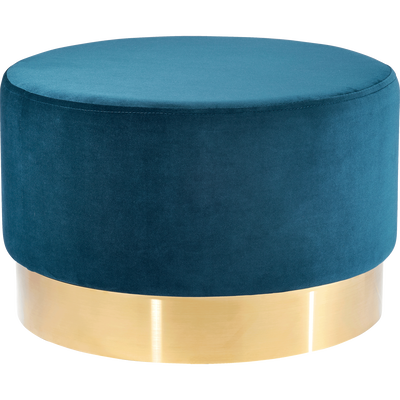Pouf en velours grand modèle bleu figuerolles D55cm-AUVE