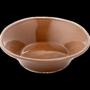 Assiette creuse en faïence brun albe D16cm-LUBERON