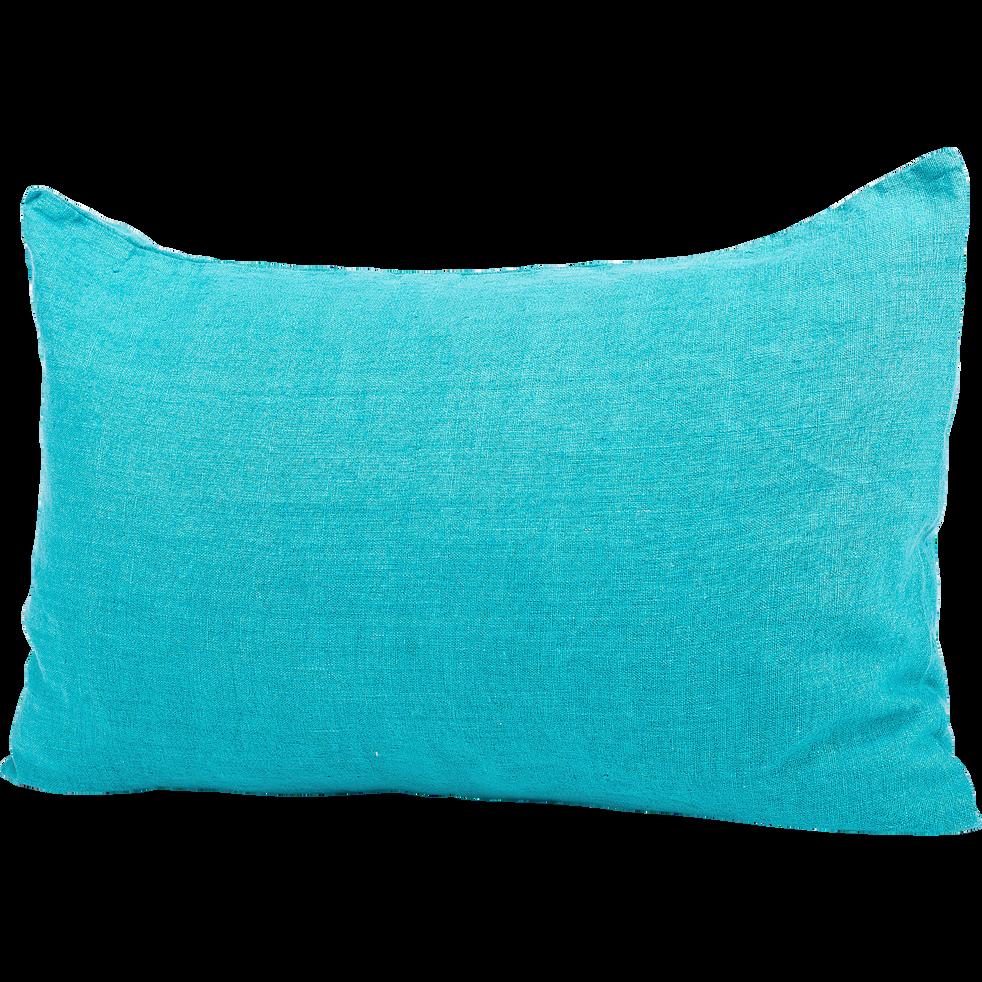 Coussin en lin lavé turquoise 40x60cm-ST TROPEZ
