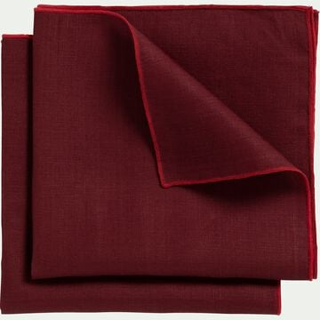Lot de 2 serviettes de table en lin et coton rouge sumac 41x41cm-MILA