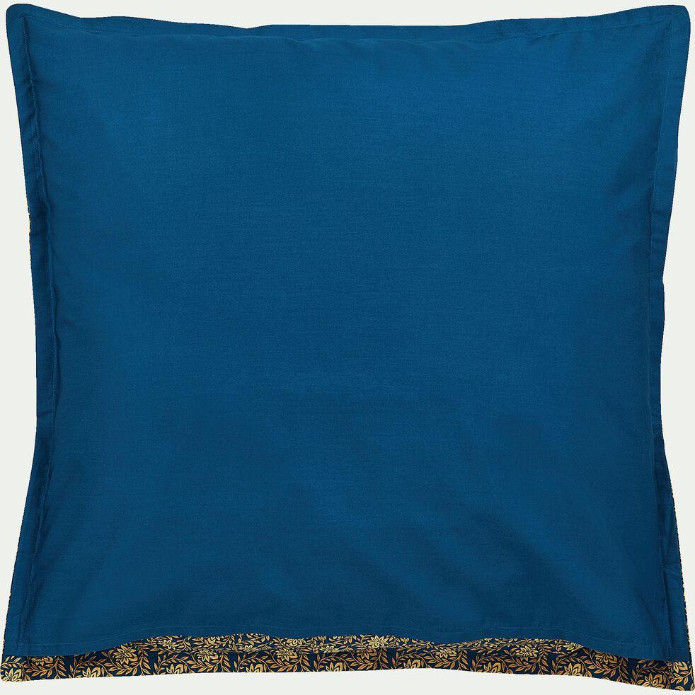 Lot de 2 taies d'oreiller en percale de coton - bleu figuerolles 63x63cm-LIVIA