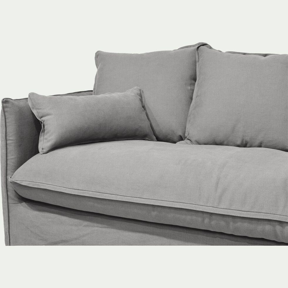 Canapé 3 places fixe en coton et lin - beige alpilles-KALISTO