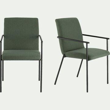 Chaise en tissu avec accoudoirs -  vert cèdre-JASPE
