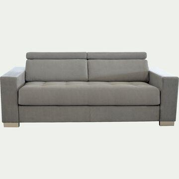 Canapé 3 places fixe revêtement microfibre - gris-MAURO