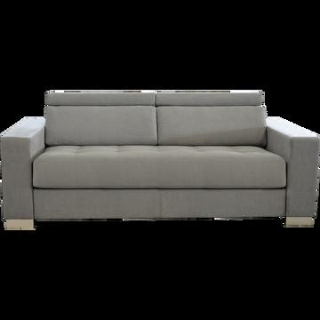 Canapé 3 places fixe revêtement microfibre gris-MAURO