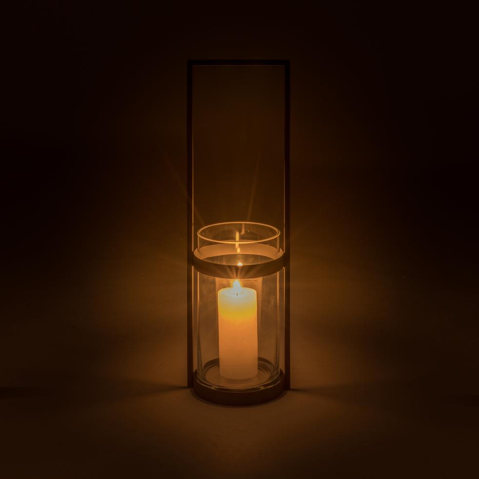 Lanterne en verre et acier gris anthracite H50xD18-Luens
