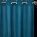 Rideau lin et coton texturé Bleu figuerolle 130x250 cm-LEONY
