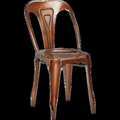 Chaise en métal cuivré vieilli-INDUS