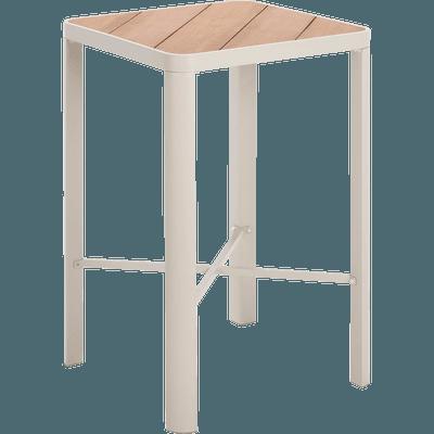 Table haute carrée en métal gris clair-ALEP