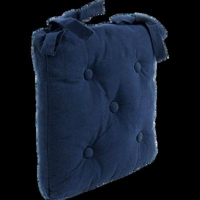 Galette de chaise en coton bleu marine 40x40cm-ALMERA