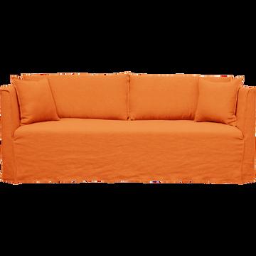 Canapé 5 places fixe en lin orange rustrel-VENCE