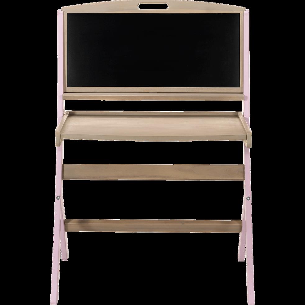 Bureau évolutif pour enfant avec tableau en acacia rose-PIROUETTE