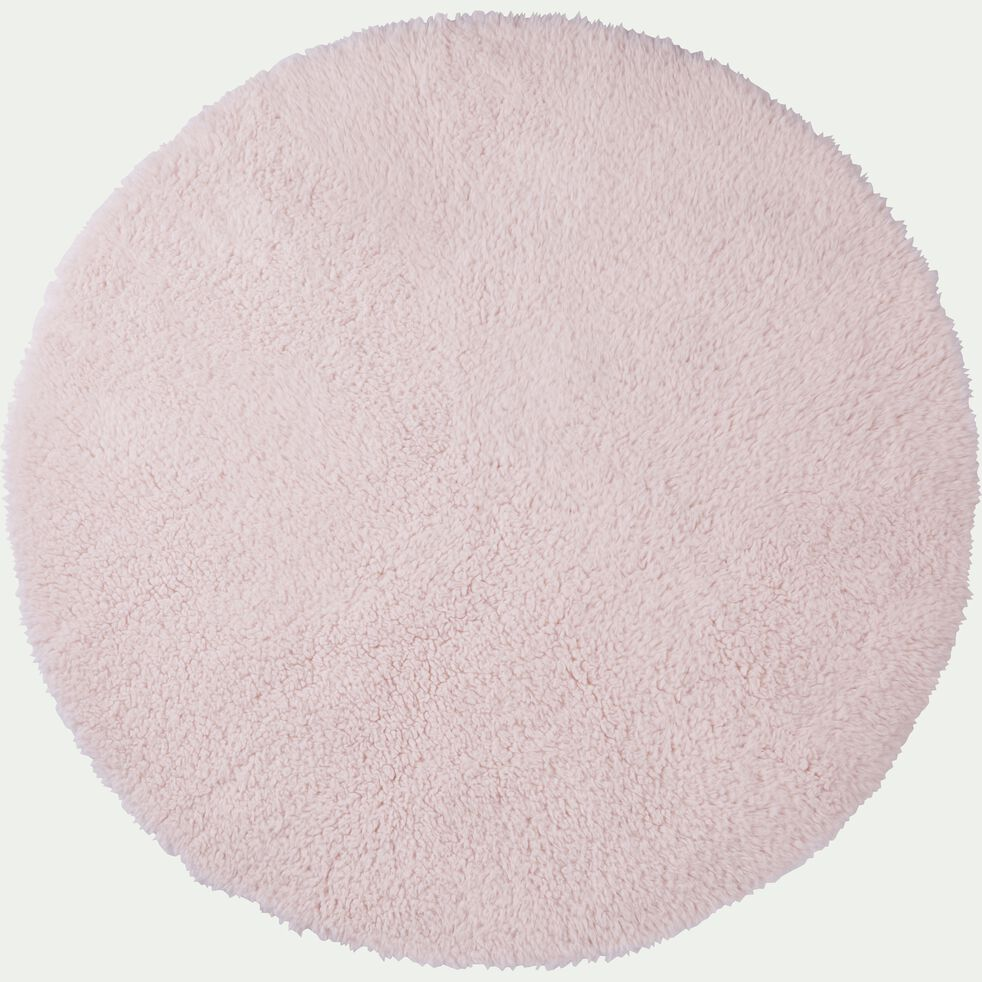 Tapis sherpa rond uni D120cm rose grège-AURORE