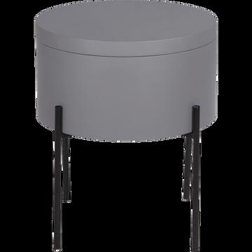 Bout de canapé gris restanque avec coffre de rangement-DOUFINO
