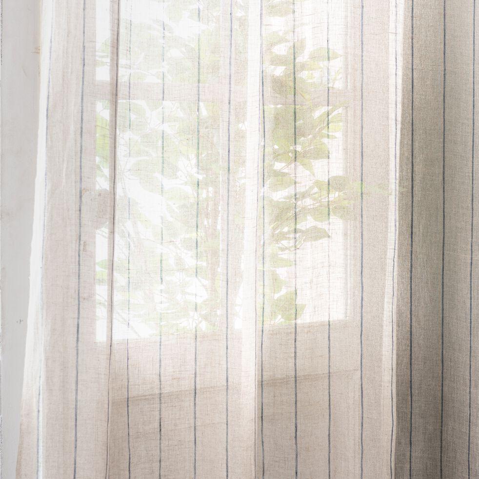 Voilage à œillets en lin rayé - naturel 140x250cm-ISSIL