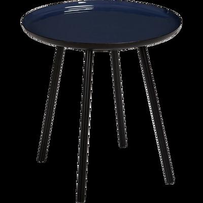 Bout de canapé en acier epoxy avec plateau bleu émaillé-VITOUR