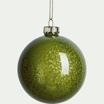 Boule en verre verte D8cm-BINAN
