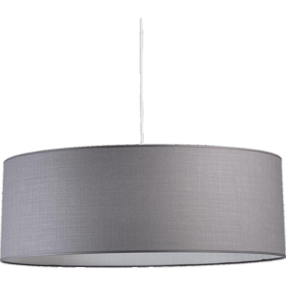 Suspension cylindrique en tissu gris restanque D75cm-MISTRAL