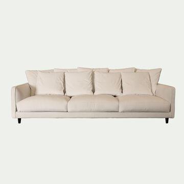 Canapé fixe 6 places en velours beige roucas-LENITA