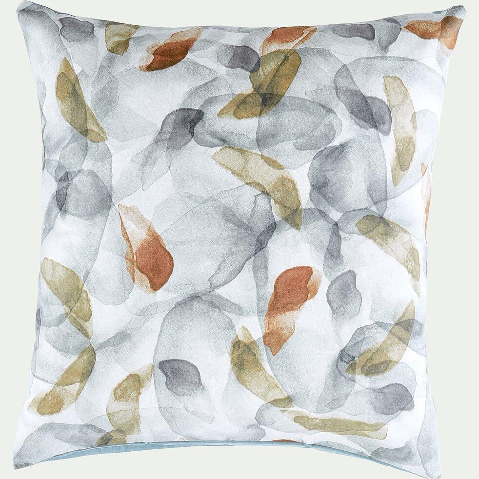 Housse de couette et 2 taies d'oreiller en coton motif aquarelle - bleu 260x240cm-SARBA