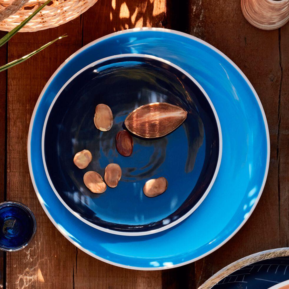 Assiette plate bicolore en faïence bleue D27cm-CANOPE