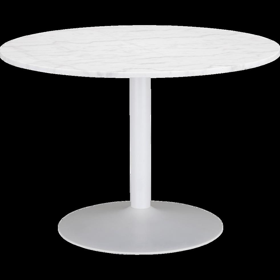 SICILE - Table de repas ronde en marbre blanc - 5 places
